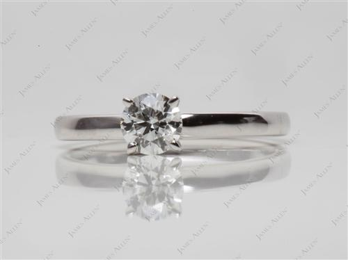 White Gold 0.46 Round cut Diamond Solitaire Ring Settings