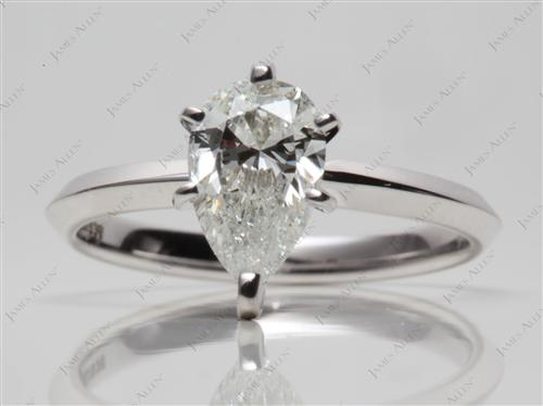 White Gold 1.01 Pear shaped Solitaire Engagement Rings