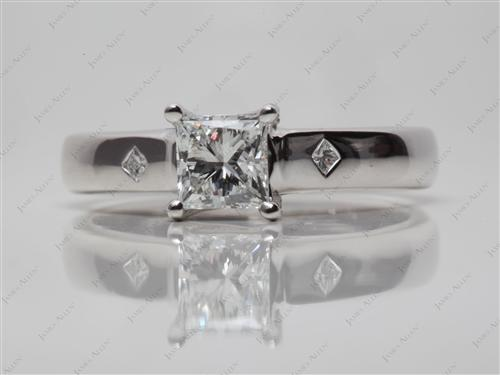 White Gold 0.78 Princess cut Solitaire Ring Settings