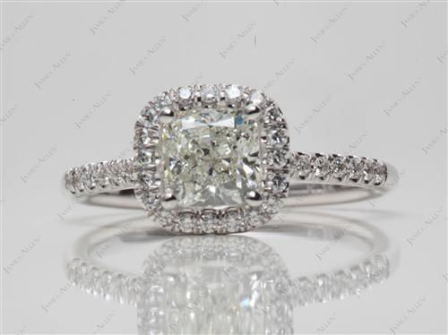 White Gold 1.10 Cushion cut Pave Ring Setting