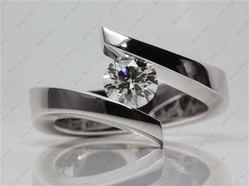 White Gold 0.71 Round cut Diamond Tension Rings