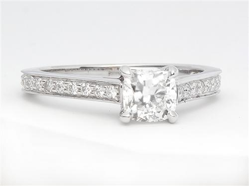 White Gold 0.60 Cushion cut Pave Ring Mountings