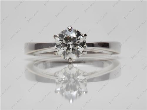 White Gold 0.73 Round cut Round Solitaire Ring