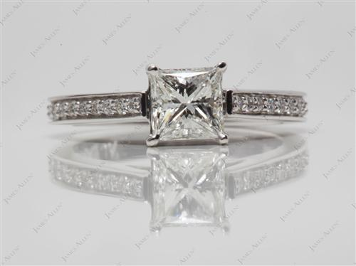 White Gold 0.84 Princess cut Pave Ring Settings