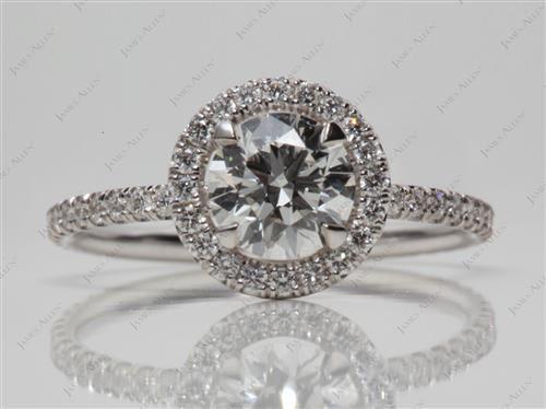 White Gold 0.91 Round cut Pave Diamond Ring