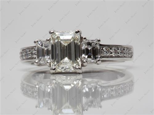 Platinum 1.25 Emerald cut Three Stones