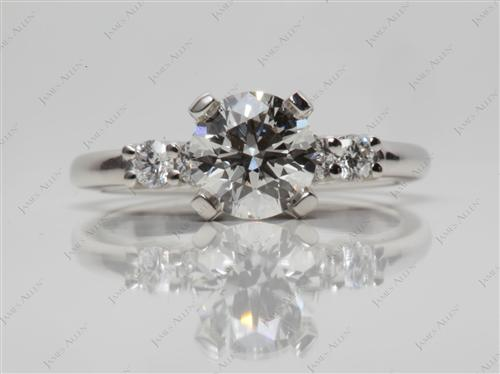 Platinum 0.82 Round cut Engagement Rings