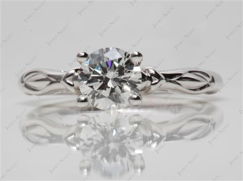 White Gold 1.04 Round cut Diamond Ring