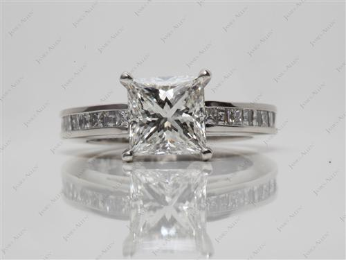 Platinum 1.52 Princess cut Channel Set Diamond Engagement Ring