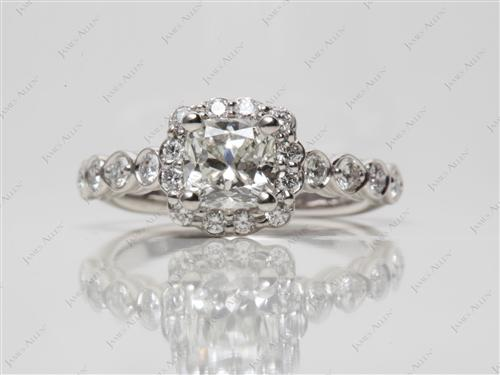 Platinum 1.11 Cushion cut Pave Engagement Ring