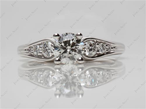 White Gold 0.81 Round cut Diamond Ring With Side Stones