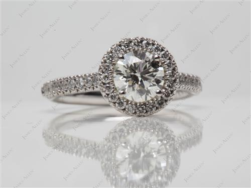White Gold 0.72 Round cut Pave Diamond Engagement Ring