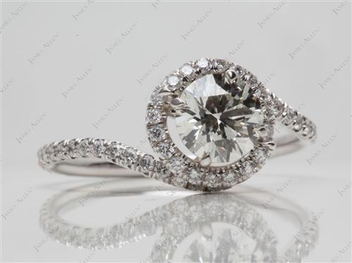 White Gold 1.00 Round cut Meno Engagement Rings