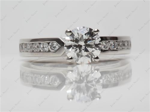 Platinum 1.30 Round cut Channel Cut Ring