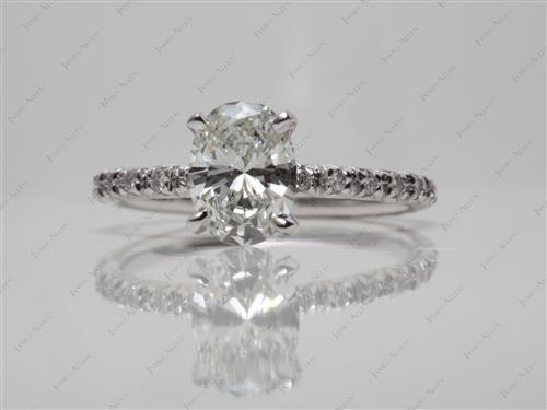 White Gold 0.92 Oval cut Engagement Ring Micro Pave