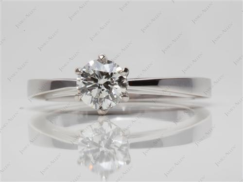 White Gold 0.71 Round cut Engagement Ring