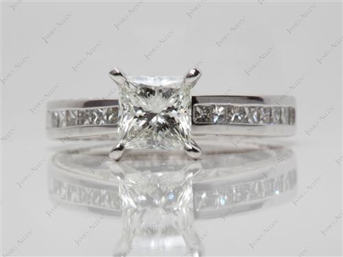 Platinum 1.16 Princess cut Channel Set Diamonds