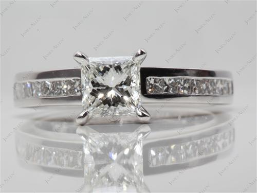 White Gold 1.01 Princess cut Channel Set Diamond Engagement Rings