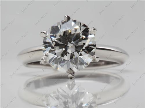Platinum 2.00 Round cut Diamond Engagement Solitaire Rings