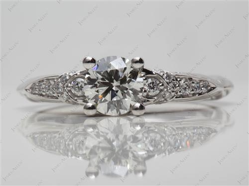 Platinum 0.76 Round cut Pave Diamond Engagement Ring