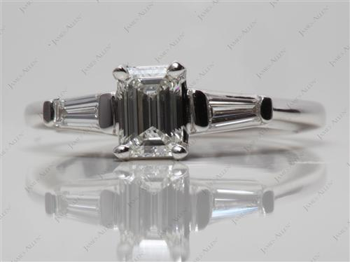 White Gold 0.61 Emerald cut Engagement Ring With Side Stones