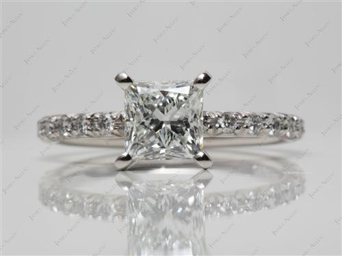 Platinum 1.36 Princess cut Engagement Ring Micro Pave