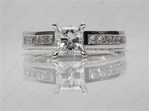 White Gold 0.76 Princess cut Channel Engagement Ring