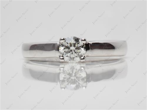 White Gold 0.45 Round cut Engagement Ring