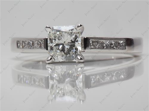 White Gold 0.78 Radiant cut Channel Set Diamond Engagement Rings