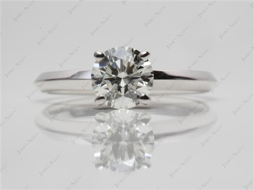 White Gold 0.77 Round cut Round Solitaire Ring