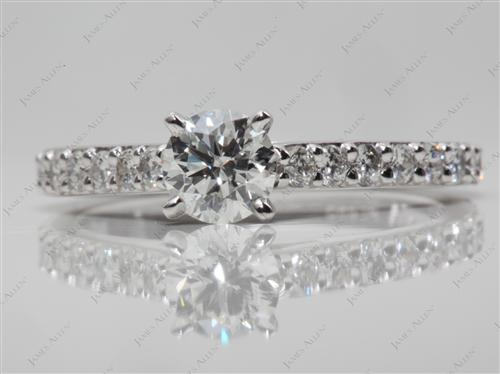 Platinum 0.54 Round cut Engagement Rings Side Stones