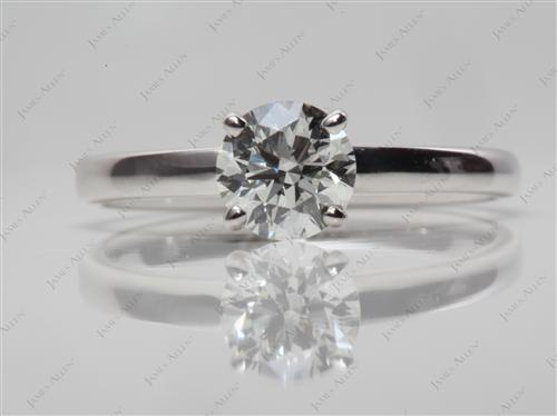 White Gold 0.70 Round cut Diamond Solitaire Ring Settings