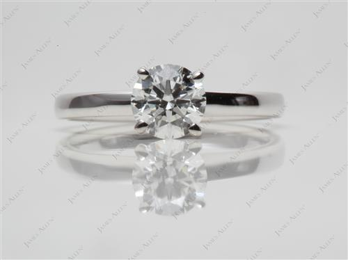 White Gold 0.80 Round cut Solitaire Engagement Rings