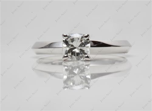 White Gold 0.71 Cushion cut Solitaire Diamond Ring