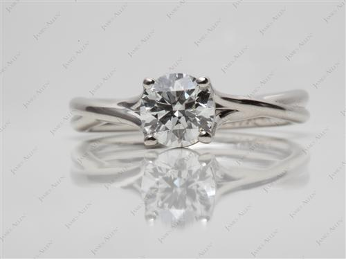 Platinum 1.03 Round cut Diamond Solitaire Rings