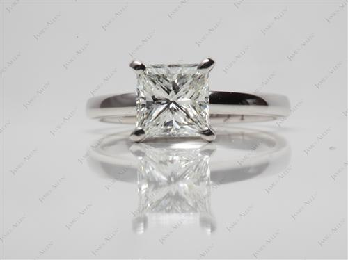 White Gold 1.50 Princess cut Solitaire Ring Mountings