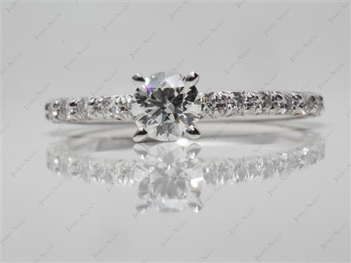 White Gold 0.46 Round cut Pave Ring Mountings
