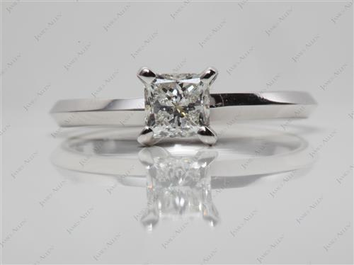 White Gold 0.64 Princess cut Round Solitaire Ring