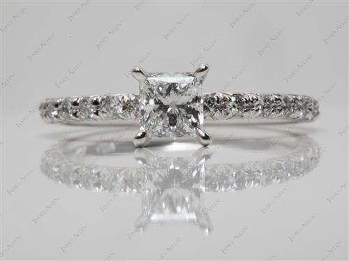 White Gold 0.63 Princess cut Diamond Ring