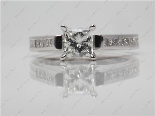 White Gold 0.71 Princess cut Channel Diamond Ring