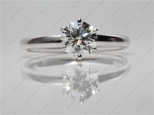 White Gold 0.77 Round cut Diamond Solitaire Ring Settings