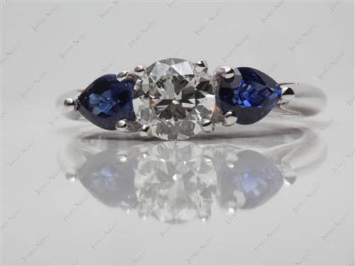 White Gold 0.69 Round cut Gemstones Ring