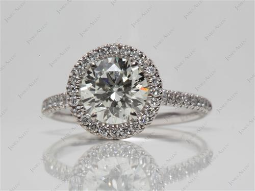 White Gold 1.65 Round cut Pave Diamond Engagement Rings