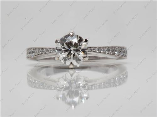 White Gold 0.79 Round cut Engagement Ring