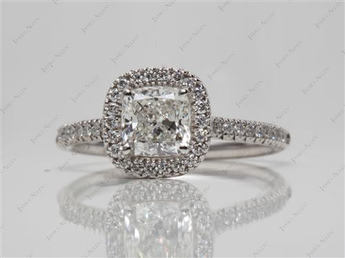 White Gold 1.20 Cushion cut Pave Diamond Engagement Rings