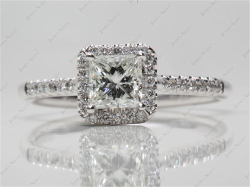 White Gold 0.70 Princess cut Pave Engagement Ring