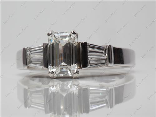 White Gold 1.08 Emerald cut Diamond Ring With Sidestones