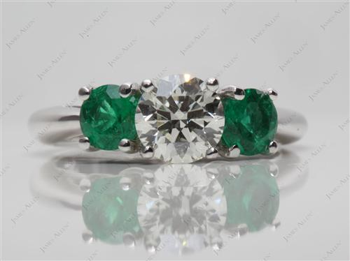 White Gold 0.81 Round cut Emerald Rings