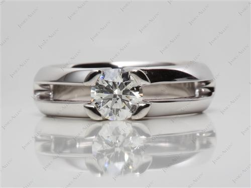 White Gold 0.84 Round cut Diamond Tension Ring
