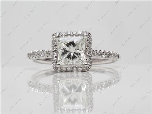 White Gold 1.05 Princess cut Engagement Ring